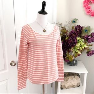 Anthropologie Red and White Striped Top